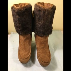 Enzo Angiolini suede boots/faux fur